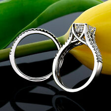 2.09 CT PRINCESS CUT DIAMOND HALO ENGAGEMENT RING SET 14K WHITE GOLD ENHANCED