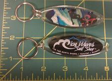 Alaska Acrylic Keychain, Icy Waves Surf shop Yakutat - colorful Surf Board Shape