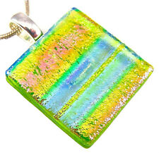 Dichroic Glass Silver Pendant Slide Green Pink Blue Tie Dye Rainbow Stripe