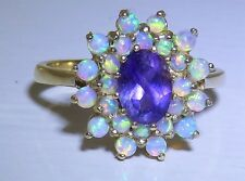 A FINE 9CT YELLOW GOLD CABOCHON OPAL AMETHYST  CLUSTER  STATEMENT RING