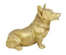 More details for 44cm corgi dog welsh pembroke large statue figure antique gold polystone resin