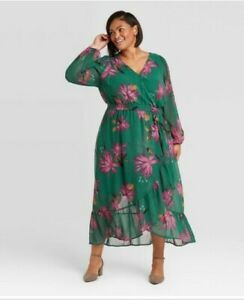 Ava & Viv Chiffon Dress. Green. Floral. Size X. NWT