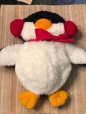"""1984 Hallmark Plush 15� Penguin Earmuffs Front Storage """"kangaroo """" Pouch Toy"""