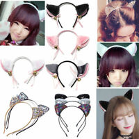Fashion Women Rhinestone Cute Cat Kitty Ears Headband Hair Band Cosplay Party