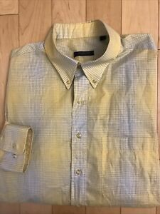 Burberry London Mens XL Long Sleeve Shirt Made In USA 100% Cotton Yellow Plaid