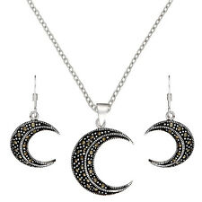 Silverly Womens 925 Sterling Silver Marcasite Crescent Moon Earrings Pendant Set