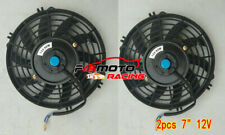 "2 × 7"" 12V Universal SLIM Electric Push/Pull Radiator Cooling Fan + mounting kit"