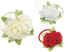 Double Flower Hair Band Elastics Hair Flower Bridal Rose Flower