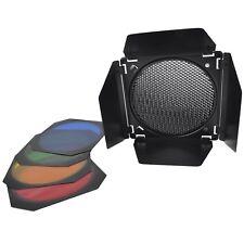 """Photo Studio 7"""" Barn door Honeycomb Grid with 3 Color Gels Filters Barndoor Set"""