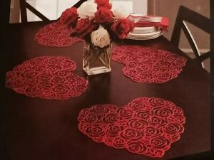 Benson Mills VALENTINE ROSE Red HEART Vinyl Placemats Set of 4 Valentine's Day