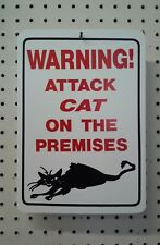 """8.5"""" X 12""""  WARNING ATTACK CAT ON THE PREMISES SIGN"""