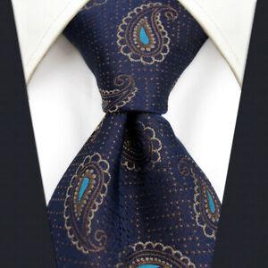 S&W SHLAX&WING Mens Tie Necktie Dark Blue Brown Paisley