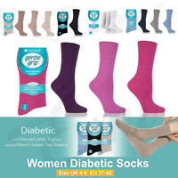 3,6 Pairs Women Ladies Gentle Grip Non Elastic Diabetic Soft Cotton Socks-UK 4-8