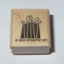 Gift Wrapped Present Rubber Stamp Bow Stampin Up Wood Mounted Retired Birthdays