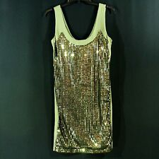 UK STYLE FRENCH CONNECTION Olive Green Sequins Dress Sz 8 Sheath Sleeveless M