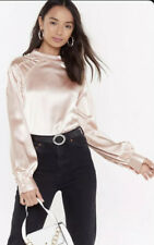 CL15# Womens There's a New Pearl Satin Blouse Blush Luzabelle Paris Uk L/XL