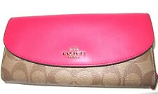 Coach Signature Slim Envelope New Wallet Bright Pink & Khaki F54022 NWT $250