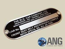 MGB, MGB-GT, MGC, MGC-GT, MIDGET '61-'69 'MG CAR COMPANY' CHASSIS PLATE
