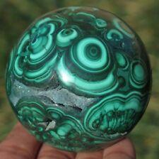 A++ 64mm 1LB 1.7OZ Natural Green Malachite Geode Crystal Sphere Ball gilt