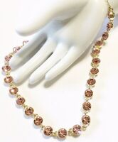 Designer Signed Michelson Pink Crystal Gold Plated Link Necklace