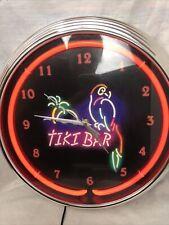 Neon Light Up Tiki Bar Clock Sign Sports Bar Lamp Art