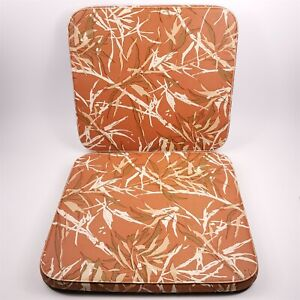 Vintage 70s Thin Lawn Patio Chair Seat Cushion Pads Outdoor Floral Orange 19x17