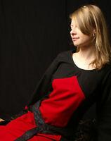 Mittelalterliches Kleid Aurora, schwarz/rot 1202400500