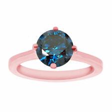 Enhanced Blue Diamond Solitaire Engagement Ring Unique 1.02 Carat 14k Rose Gold