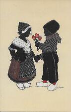 Alwin Freund & Co Dutch boy gives girl flowers handsome Vintage postcard ca1920
