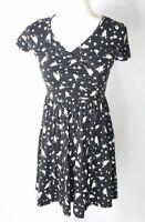 ASOS womens size 4 black white short sleeved fit flare bird heart print dress