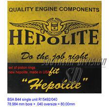 PISTON RING SET BSA b44 HEPOLITE r15492 .040 oversize Pistone Anello Set Victor