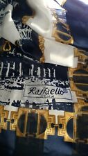 RAFFAELLO ROMA Silk navy, white and gold scarf41INCH by 38INches new