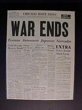 VINTAGE NEWSPAPER HEADLINE~JAPANESE ARMY JAPAN SURRENDER END WORLD WAR WWII OVER