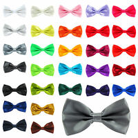 New Satin Mens Pre Tied Fancy Plain Necktie tie Bow ties -Wedding Party Prom
