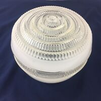 Antique Ceiling Light Fixture Art Deco White Glass Painted Vintage