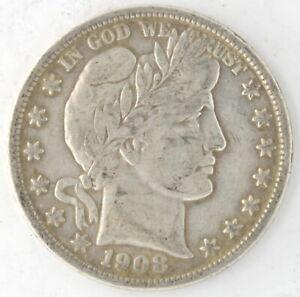 1908 D Barber Half Dollar 90% Silver 50 Cent Coin Denver Mint United States