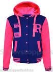 NEUF filles veste baseball Pull à capuche vêtements âge 7 8 9 10 11 12 13 Rose