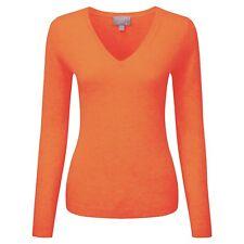 Pure Collection 100% cachemir de cuello en V Suéter-Atardecer Naranja Uk Size 12 RRP £ 110