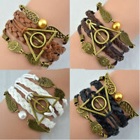 HARRY POTTER Deathly Hallows Style Bracelets Golden Snitch Owl Jewellery Gift UK