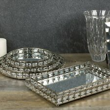 Round or Rectangle Silver Mirror Tray Candle Centrepiece Decorative Xmas Gift