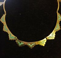 """Vintage Alpaca mexico silver turquoise inlay tribal 18"""" necklace southwest style"""