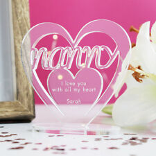 Personalised Heart Message Ornament Keepsake Birthday Nanny Mothers Day Gift