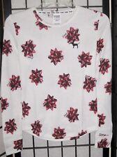 Victorias Secret Pink Pajama Set XL Knit Black Lace Trim Gift Bow NWoT
