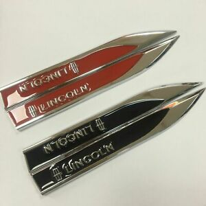 2x3D Chrome&Black Alloy Logo Knife Fender Door Emblem Stickers Badge Fit Lincoln