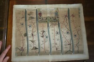 1675 ROAD FROM GLOCESTER to COVENTREY GLOUCESTER COVENTRY STRIP MAP JOHN OGILBY