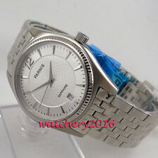 Casual 38mm parnis white dial date window sapphire glass quartz women's watch