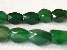 23 OBLONG DARK GREEN COLOUR JEWELLERY MAKING GLASS BEADS 12mm x 8mm G0084