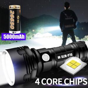 Super-bright 90000lm Flashlight LED P70 L2 Tactical Torch Light + 26650 Battery