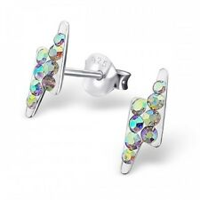 Sterling Silver 925 AB Crystal Lightning Bolt Stud Earrings