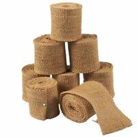 8-Pack Natural Jute Burlap Ribbon Rolls Rustic Spool For Crafts Wedding Decor